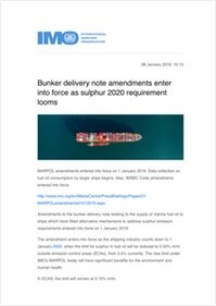 Bunker delivery note amendments enter into force