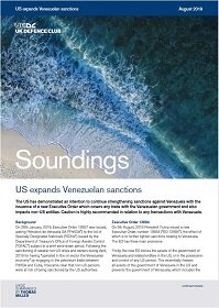 August, 2019 - US Expands Venezuelan Sanctions (CHINESE)